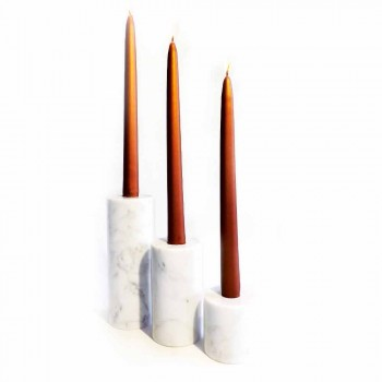 Composition of 3 Candle Holders in White Carrara Marble Made in Italy - Astol