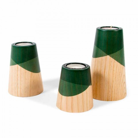 Composition of 3 Modern Candle Holders in Solid Pine Wood - White