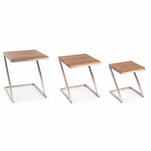 Composition of 3 Homemotion Square Wooden Coffee Tables - Fonzi