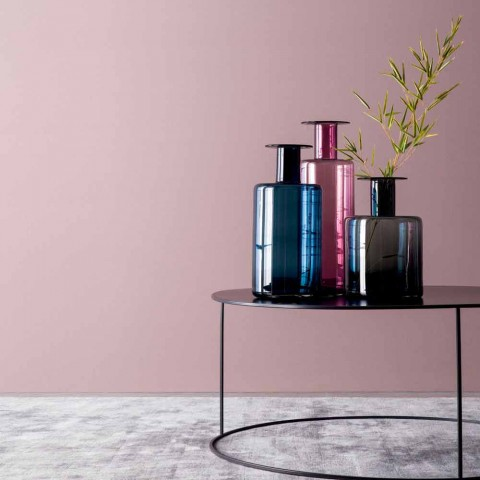 Composition of 3 Decorative Vases in Smoked, Blue and Amethyst Glass - Infinity