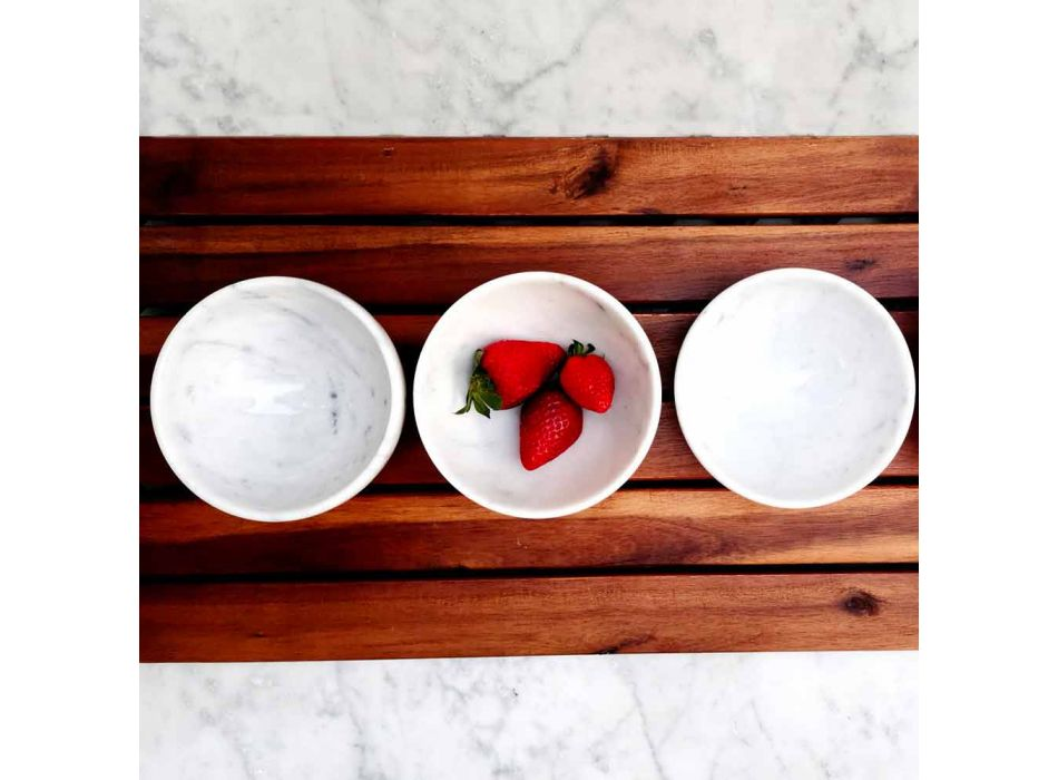 Composition of 4 Bowls in White Carrara Marble Made in Italy - Cremina