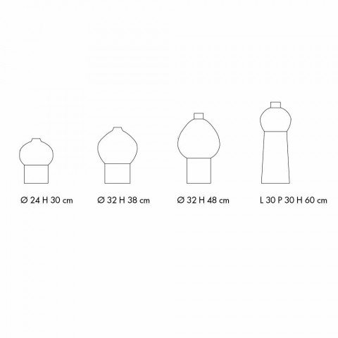 Composition of 4 Decorative Vases in Black and White Ceramic - Calicanto