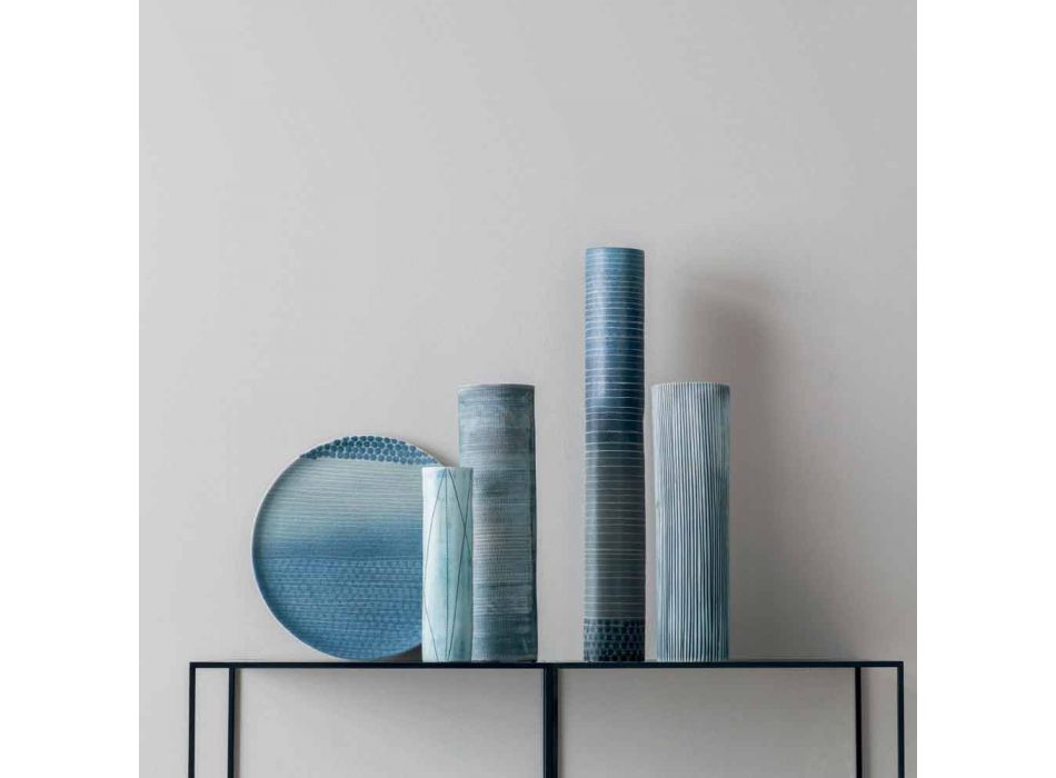 Composition of 4 Vases and Centerpiece in Hand Painted Porcelain - Liberio