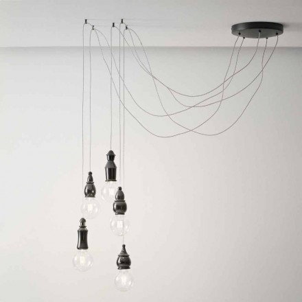 Composition of 5 Shabby Chic Hanging Lamps in Ceramic - Fate Aldo Bernardi