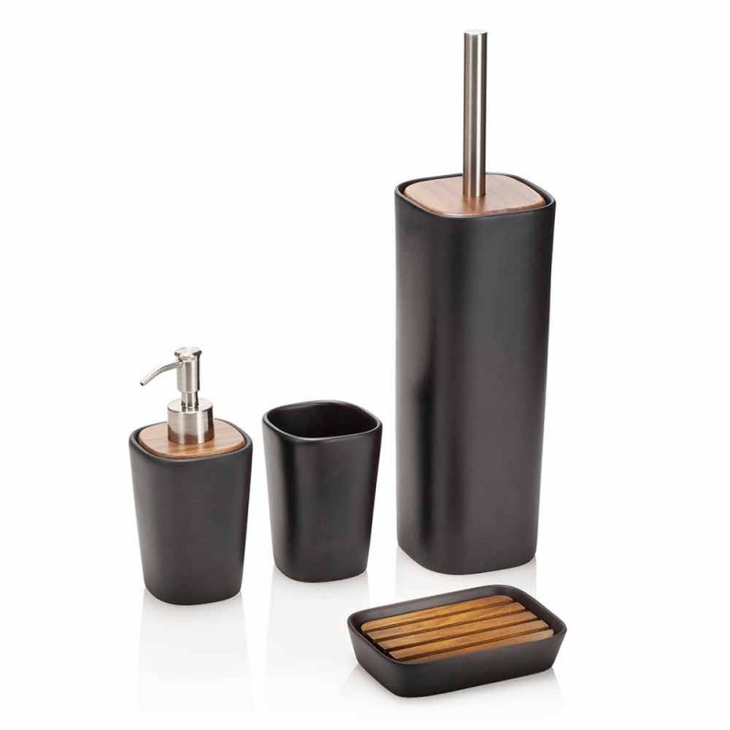 Composition of Bathroom Accessories in Ceramic, Wood and Metal - Semino