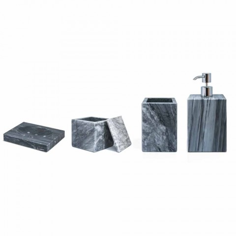 Composition of Marble Bathroom Accessories Made in Italy, 4 Pieces - Deano