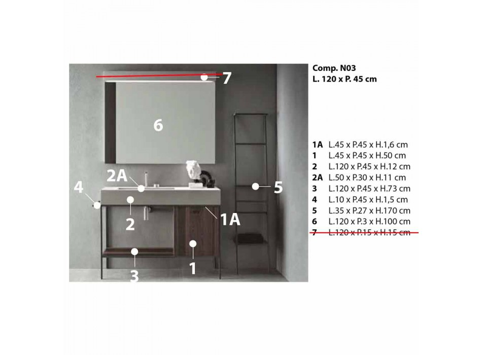 Composition of Handcrafted Furniture for Modern Design Bathroom on the Ground - Farart3