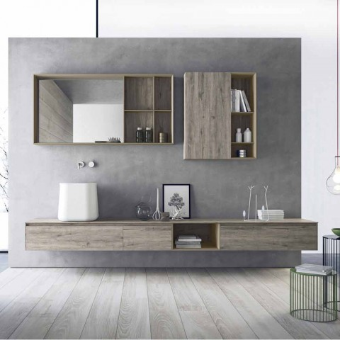 Composition of Modern Bathroom Furniture, Suspended Design Made in Italy - Callisi6
