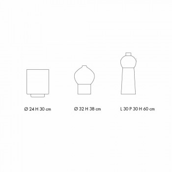 Composition of Decorative Vases in Decorated Ceramic and Smoked Glass - Monile