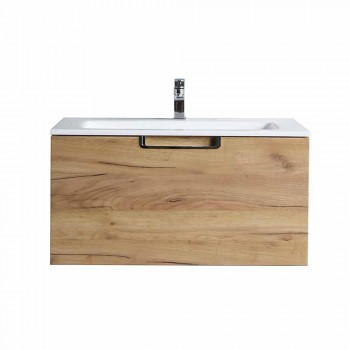 Bathroom Vanity Cabinet Composition in Wood and Modern Design Mirror - Gualtiero
