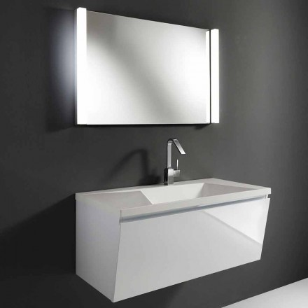 White Modern Suspended Bathroom Furniture Composition with LED Mirror - Desideria