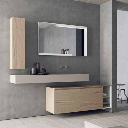 Modern and Suspended Bathroom Furniture Composition, Made in Italy Design - Callisi1