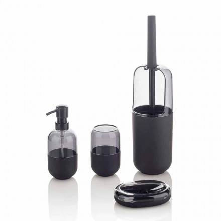 Modern Composition of Bathroom Accessories in Plastic and Black Rubber - Noto