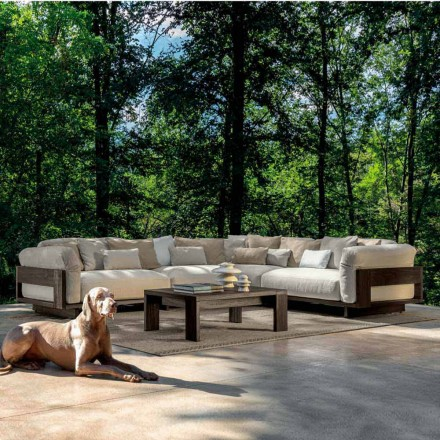 Composition for Outdoor with Luxury Corner Sofa in Wood - Argo by Talenti