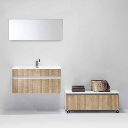 Suspended Composition of Bathroom Furniture with Modern Design Mirror - Rossella