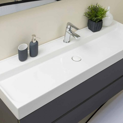 Composition Suspended Bathroom Furniture in MDF Made in Italy - Becky