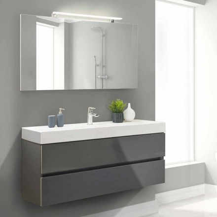 Bathroom Cabinet 140 cm, Wash Basin and Mirror – Becky