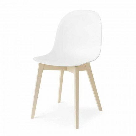 Connubia Calligaris Academy chair with solid wood base, set of 2