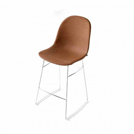 Connubia Calligaris Academy stool, vintage faux-leather seat, set of 2