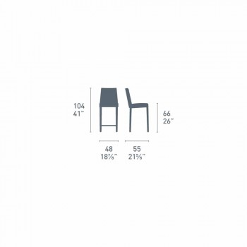 Connubia Calligaris Academy high stool in vintage faux leather, 2 pieces