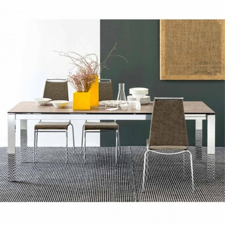 Connubia Calligaris Baron extending table, glass/ceramics L130/190 cm