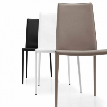 Connubia Calligaris Boheme modern leather and metal chair, 2 pieces