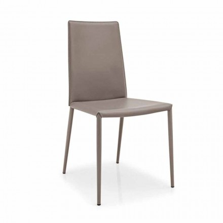 Connubia Calligaris Boheme modern chair, set of 2, leather and metal