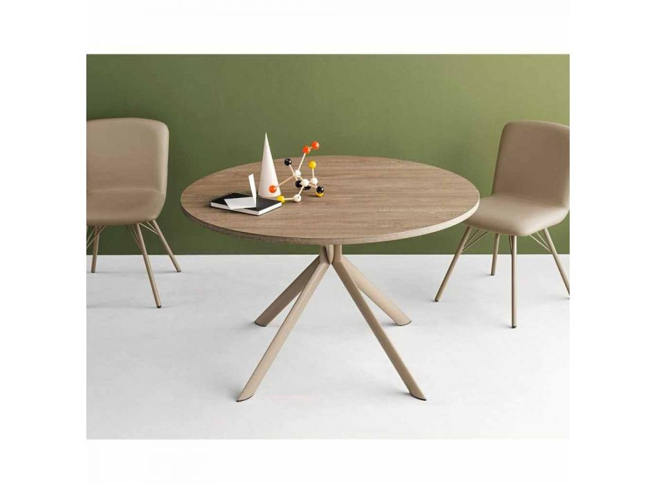 Connubia Calligaris Giove extendable round wooden table, diam.120