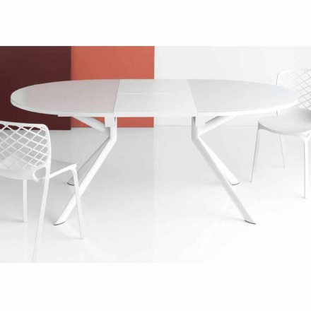 Connubia Calligaris Giove extendable round glass table, 140/190 cm