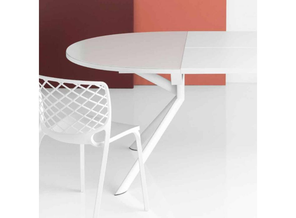 Connubia Calligaris Giove extendable round table in glass, L140 / 190cm