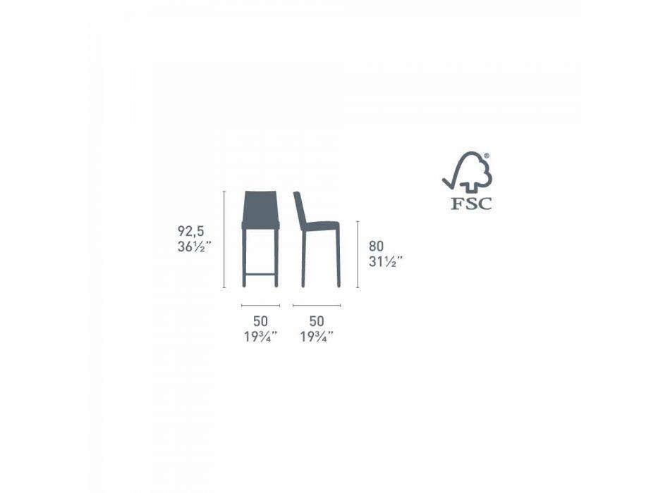 Connubia Calligaris Jam W modern design wooden stool, 2 pieces