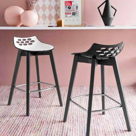 Connubia Calligaris Jam W wooden stool set of 2, modern design