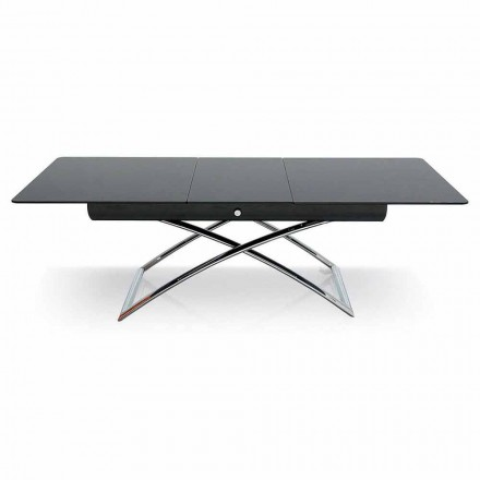 Connubia Calligaris Magic-J adjustable glass coffee table, 115/150 cm