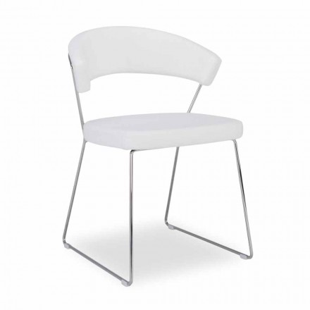Connubia Calligaris New York chair, set of 2, with leather seat