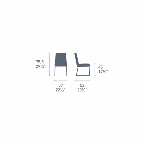 Connubia Calligaris New York modern design leather chair, 2 pieces