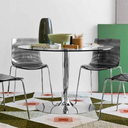 Connubia Calligaris Planet round glass table, modern design, Ø 120 cm