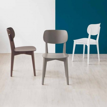 Connubia Calligaris Robinson solid wood chair, set of 2, made in Italy