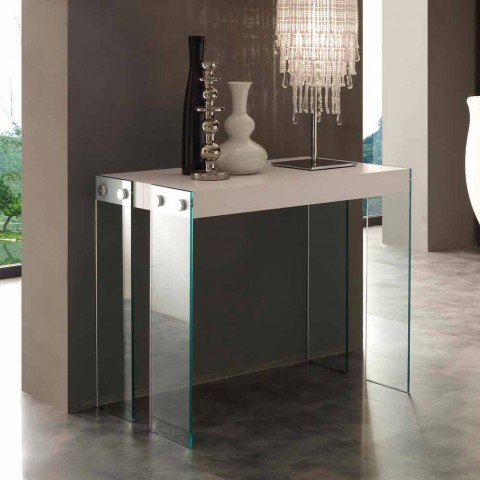 Modern design extendable console with Miss tempered glass legs