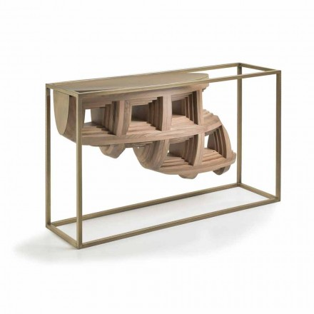 Luxury design console table Pardo in solid walnut wood and metal
