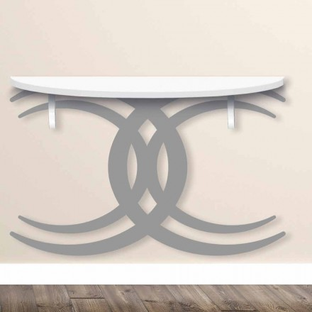 Wall Mounted Console for Modern Design in White and Gray Wood - Coco