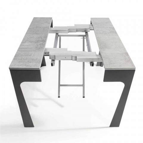 Extendable Wooden Console with Trolley and 12 Folding Chairs - Meraviglia