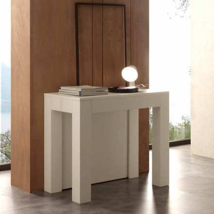 Extendable console table Bosa, white open pore finish