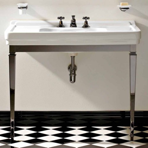 105 cm Vintage White Ceramic Bathroom Console with Feet, Made in Italy - Marwa