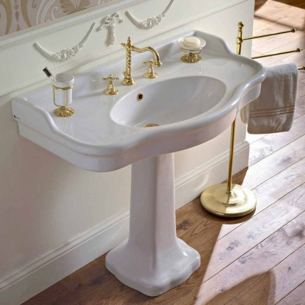 Vintage Ceramic Bathroom Console on Colonna, Made in Italy - Paulina