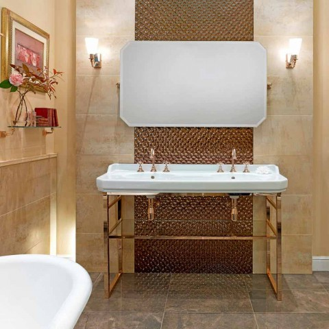 Bathroom Console L 135 cm with Double Bowl in Ceramic with Feet - Nausica
