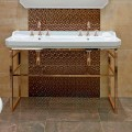 Bathroom Console Vintage L 135 cm with Double Bowl in Ceramic with Feet - Nausica