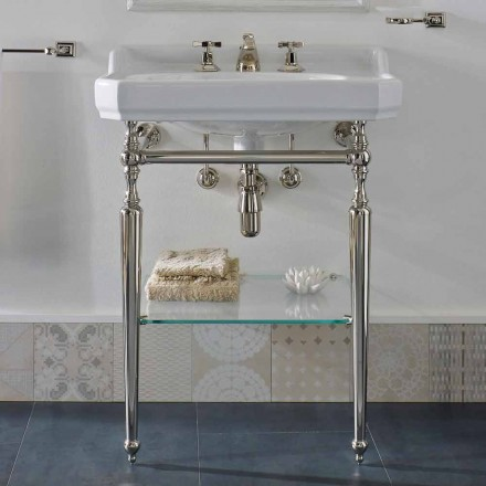 65 cm Ceramic Bathroom Console Vintage with Metal Feet Made in Italy Nausica