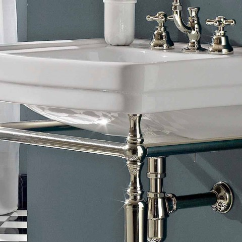 Bathroom Console L69 cm on Feet in White Vintage Ceramic, Made in Italy - Marwa