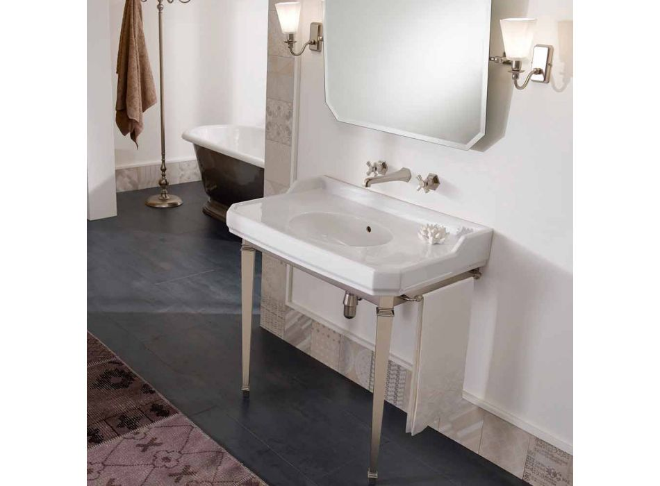 90 cm Vintage Bathroom Console, White Ceramic, with Feet Made in Italy - Nausica