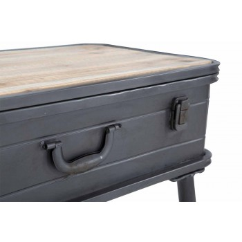 Console with Modern Design Iron and Wood Container - Gomes